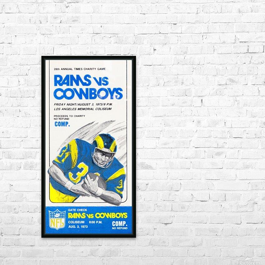 1973 LA Rams vs. Dallas Cowboys Ticket Art HD Sublimation Metal print with Decorating Float Frame (BOX)