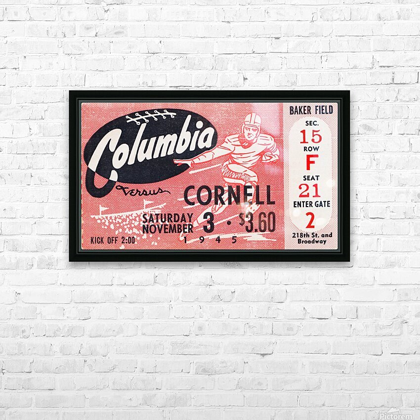 1945 Columbia vs. Cornell HD Sublimation Metal print with Decorating Float Frame (BOX)
