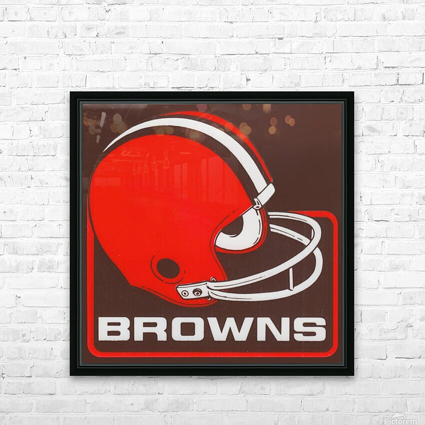 Retro Cleveland Browns Helmet Art HD Sublimation Metal print with Decorating Float Frame (BOX)