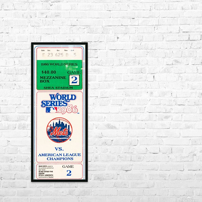 1986 New York Mets World Series Ticket Wall Art HD Sublimation Metal print with Decorating Float Frame (BOX)
