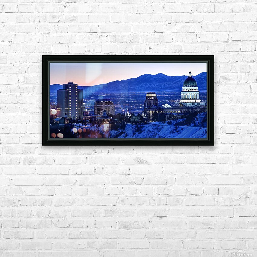 Utah State Capitol Sunset Salt Lake City Government Architecture Photography Historic Lights Night Fine Art Photo Print  Wall Decor HD Sublimation Metal print with Decorating Float Frame (BOX)