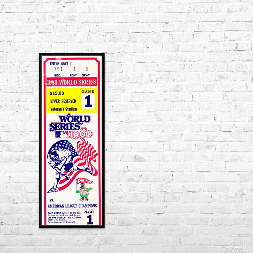 198o World Series Ticket Art Game 1 HD Sublimation Metal print with Decorating Float Frame (BOX)