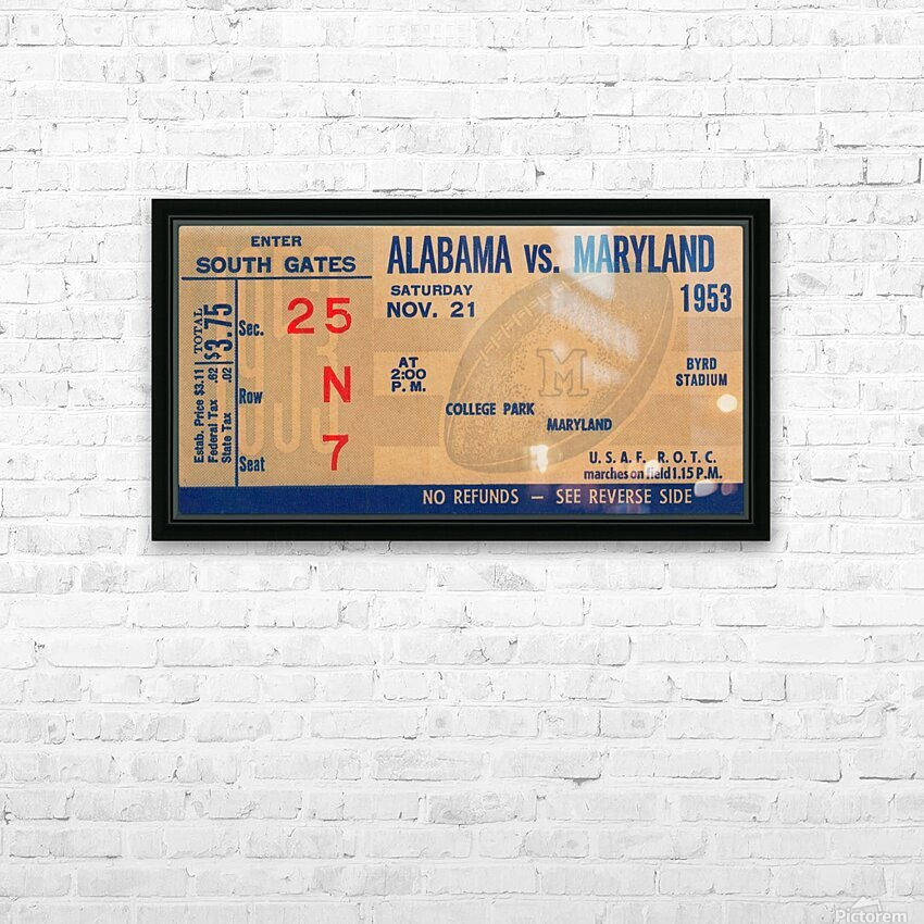 1953 Alabama vs. Maryland HD Sublimation Metal print with Decorating Float Frame (BOX)
