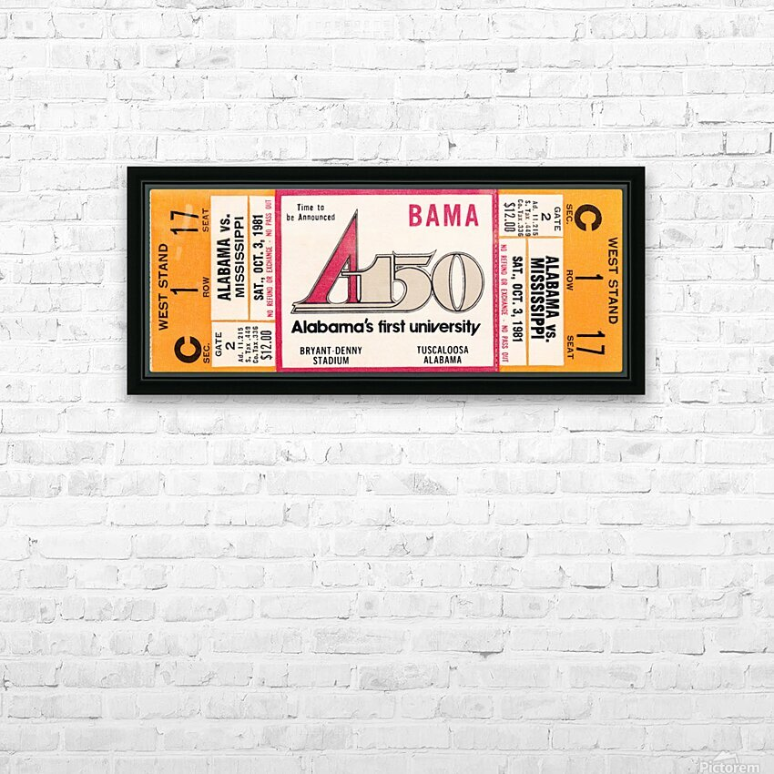 1981 Alabama Football Ticket Canvas Art HD Sublimation Metal print with Decorating Float Frame (BOX)