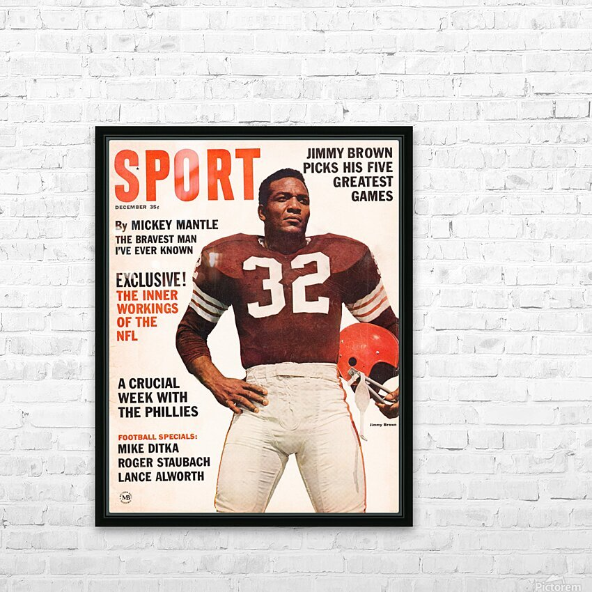 1964 Sport Magazine Jim Brown Cover Art HD Sublimation Metal print with Decorating Float Frame (BOX)