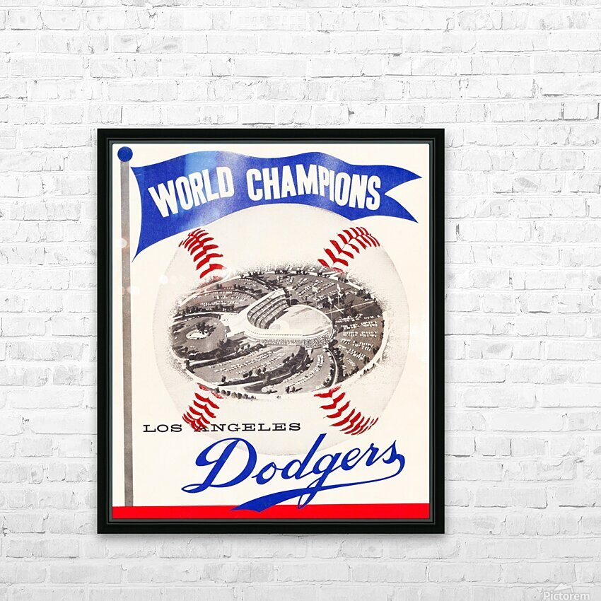 1960 Los Angeles Dodgers Baseball Art HD Sublimation Metal print with Decorating Float Frame (BOX)