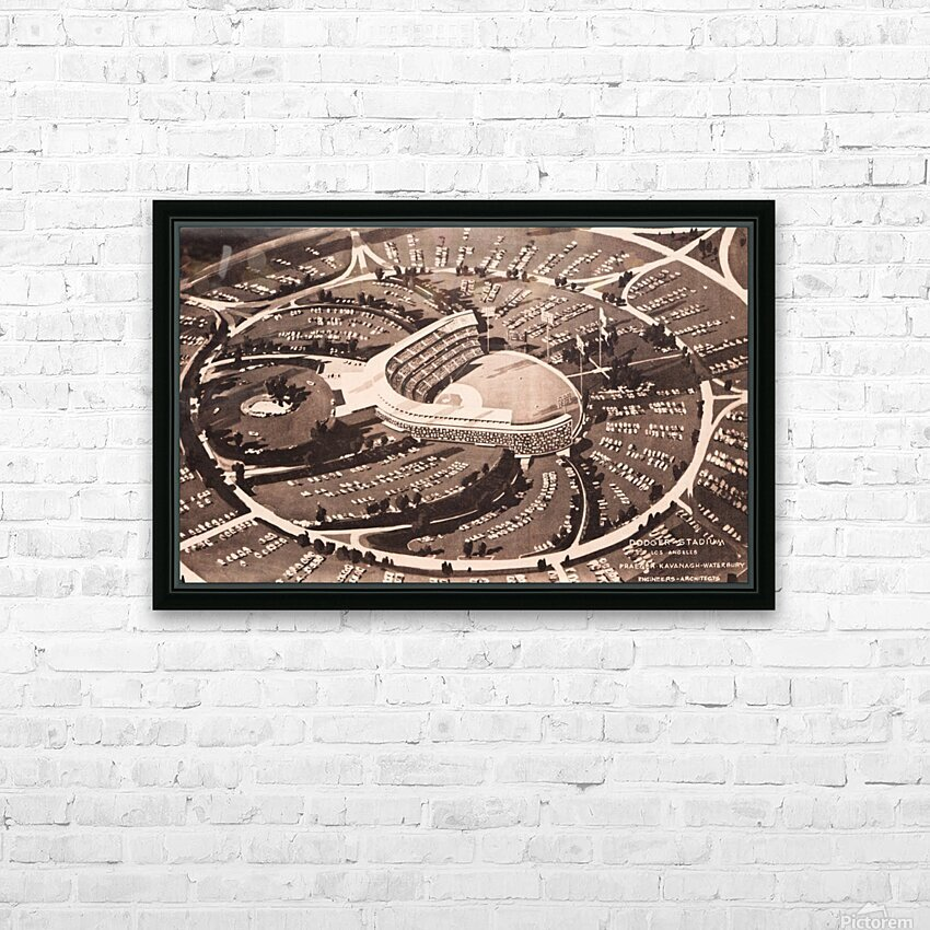 1959 Dodger Stadium Architecture Drawing HD Sublimation Metal print with Decorating Float Frame (BOX)
