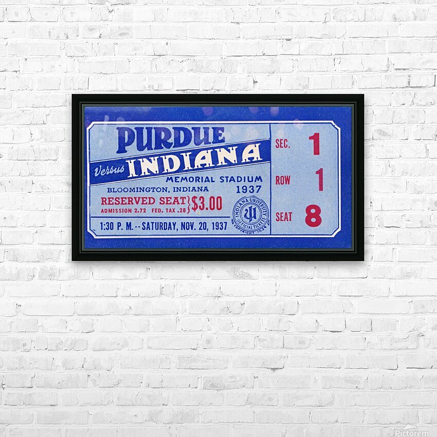1937 Indiana vs. Purdue Ticket Stub Art HD Sublimation Metal print with Decorating Float Frame (BOX)