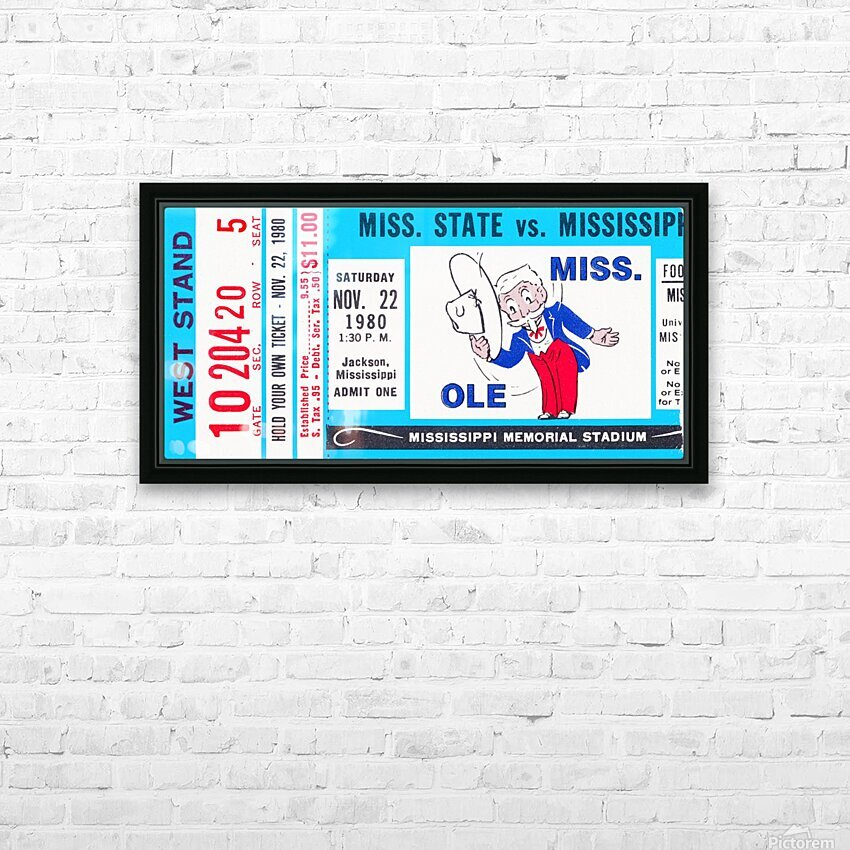 1980 Ole Miss vs. Miss State Football Ticket Stub Art HD Sublimation Metal print with Decorating Float Frame (BOX)