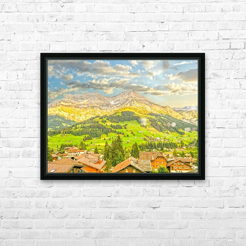 Golden Rays in the Mountains Alpine Village Switzerland HD Sublimation Metal print with Decorating Float Frame (BOX)