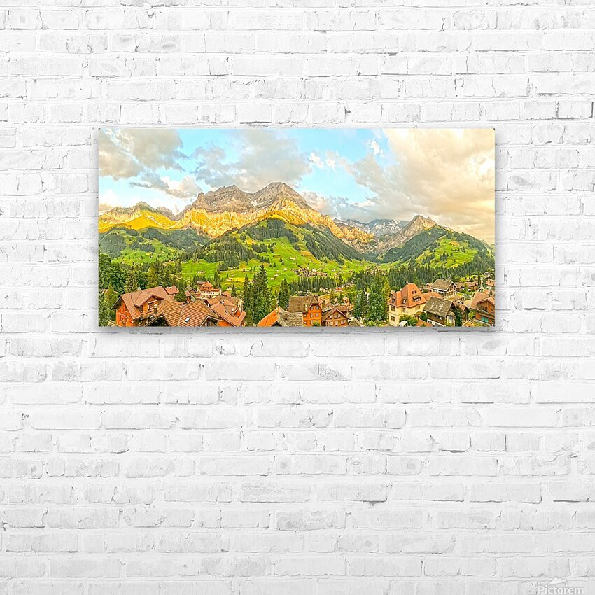 Golden Rays Across The Bernese Highlands in Switzerland Panorama with Engstligen Falls HD Sublimation Metal print with Decorating Float Frame (BOX)