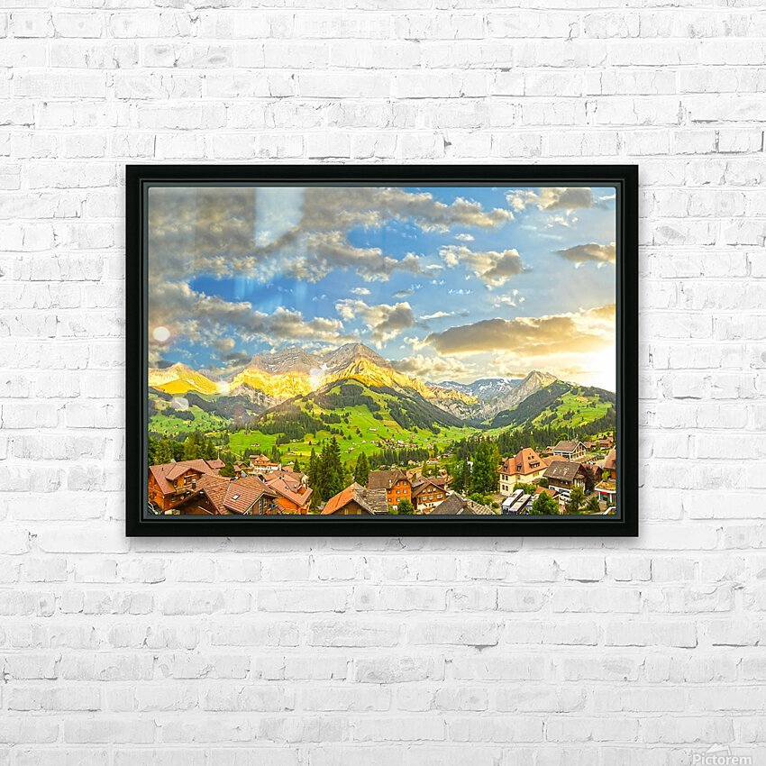 Golden Rays Across The Swiss Alps with Waterfalls HD Sublimation Metal print with Decorating Float Frame (BOX)