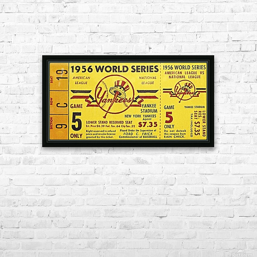 1956 World Series Perfect Game Ticket Stub Art HD Sublimation Metal print with Decorating Float Frame (BOX)