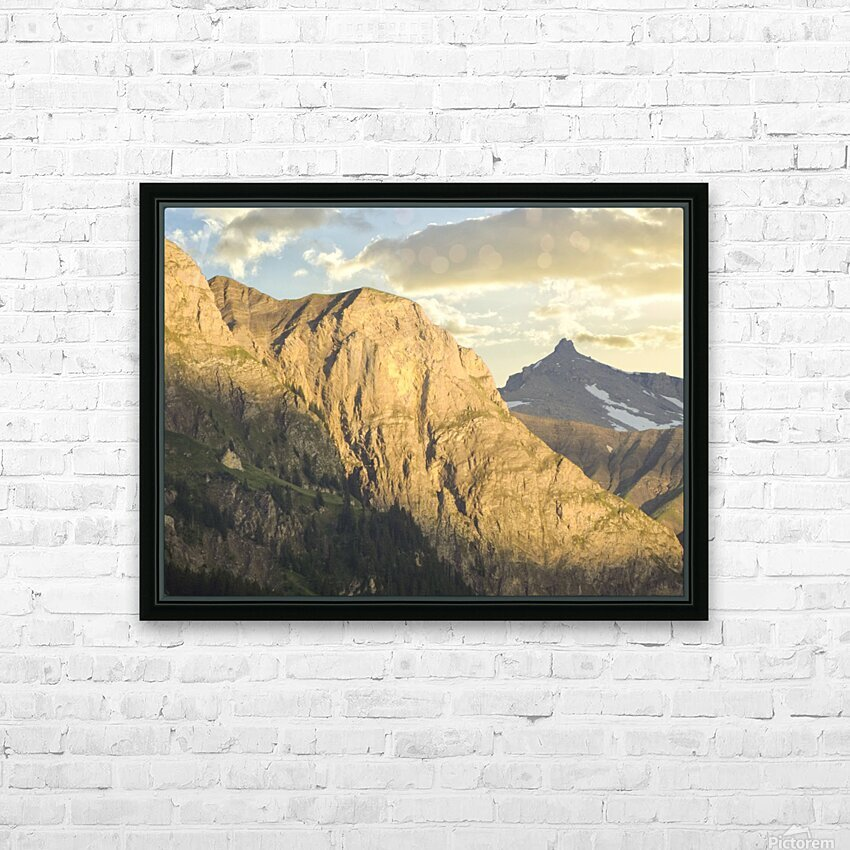 Golden Rays of the Sun on the Swiss Alps in the Bernese Highlands HD Sublimation Metal print with Decorating Float Frame (BOX)