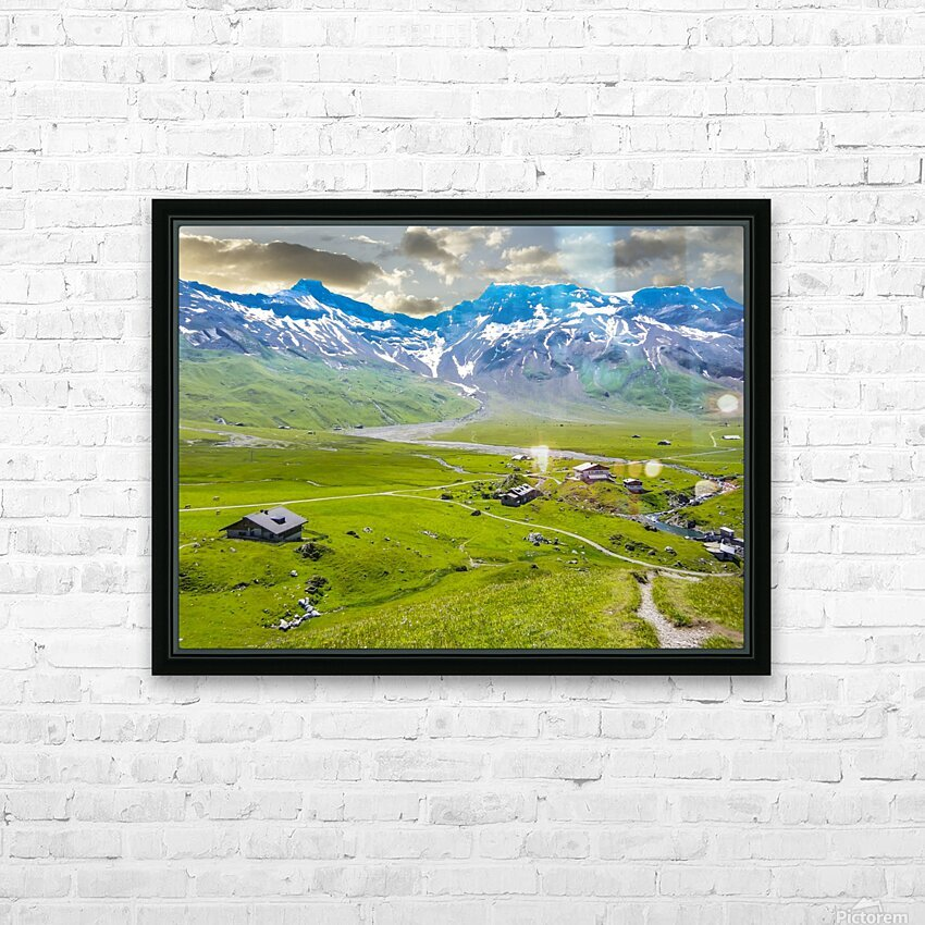 High Alps Village in Spring Switzerland HD Sublimation Metal print with Decorating Float Frame (BOX)