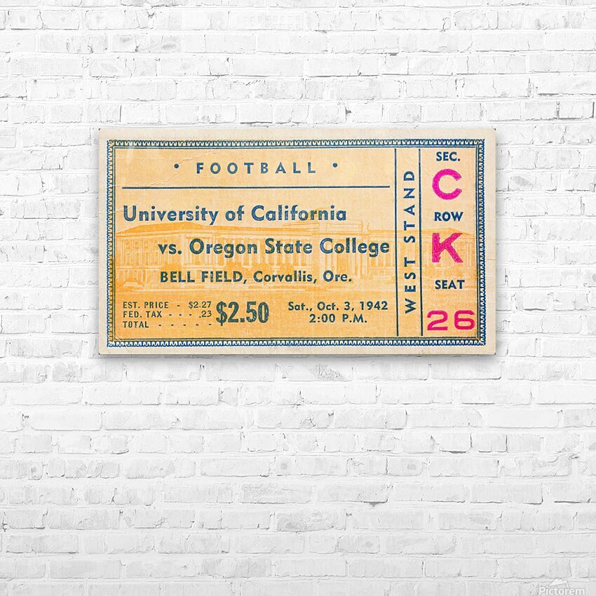 1942 Oregon State vs. California Ticket Stub Art HD Sublimation Metal print with Decorating Float Frame (BOX)
