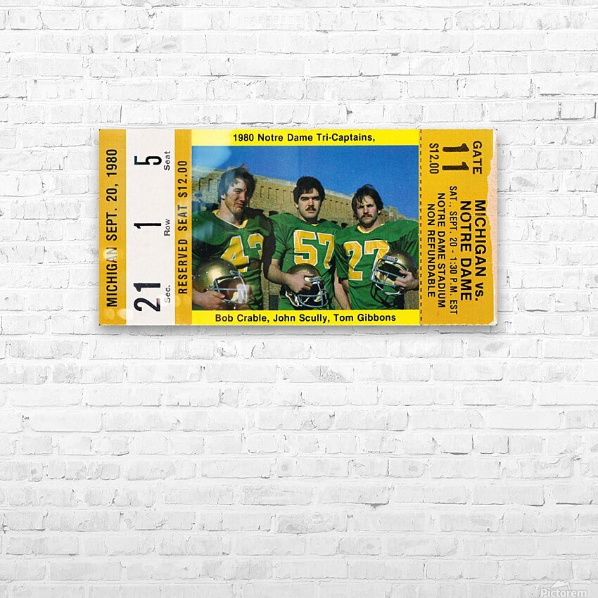 1980 Notre Dame vs. Michigan HD Sublimation Metal print with Decorating Float Frame (BOX)