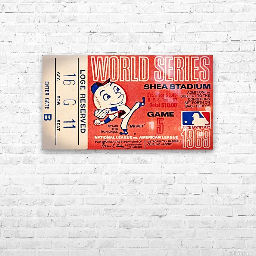 1969 New York Mets Game 5 Ticket Art HD Sublimation Metal print with Decorating Float Frame (BOX)