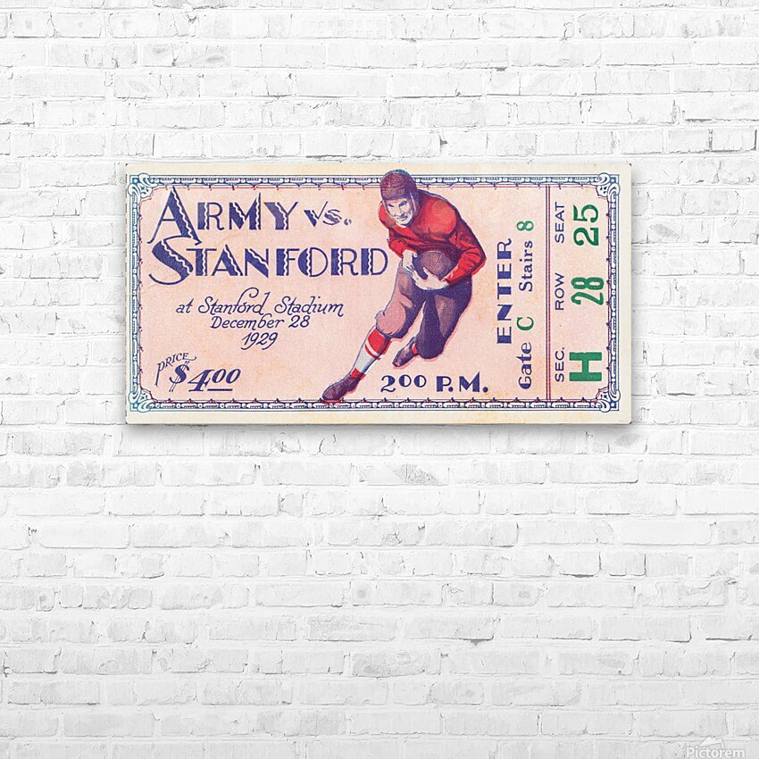 1929 Stanford Football Ticket Stub Art HD Sublimation Metal print with Decorating Float Frame (BOX)
