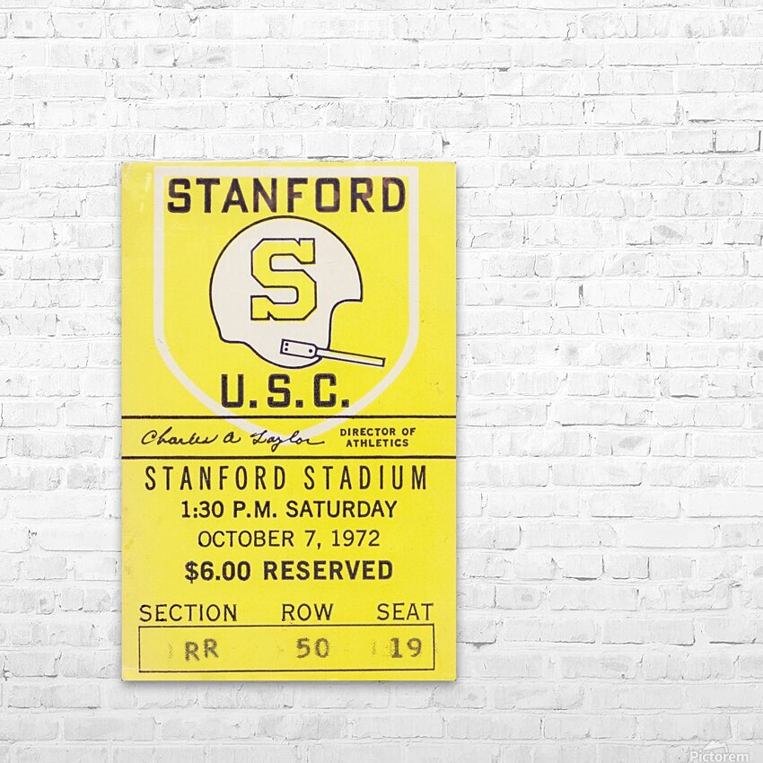 1972 Stanford vs. USC Ticket Stub Art HD Sublimation Metal print with Decorating Float Frame (BOX)