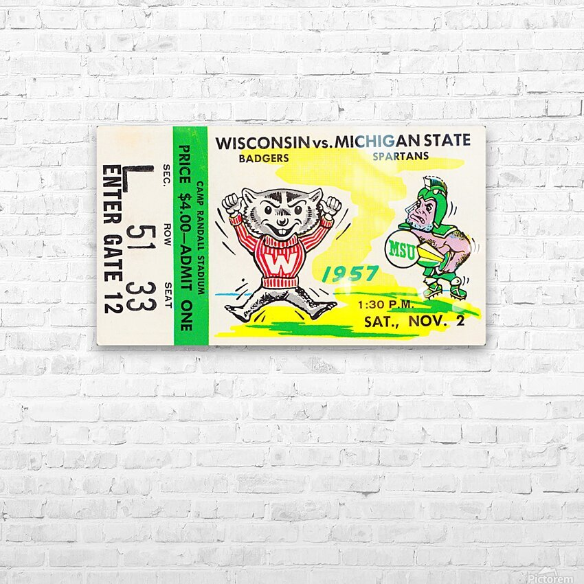 1957 Wisconsin vs. Michigan State Football Ticket Art HD Sublimation Metal print with Decorating Float Frame (BOX)