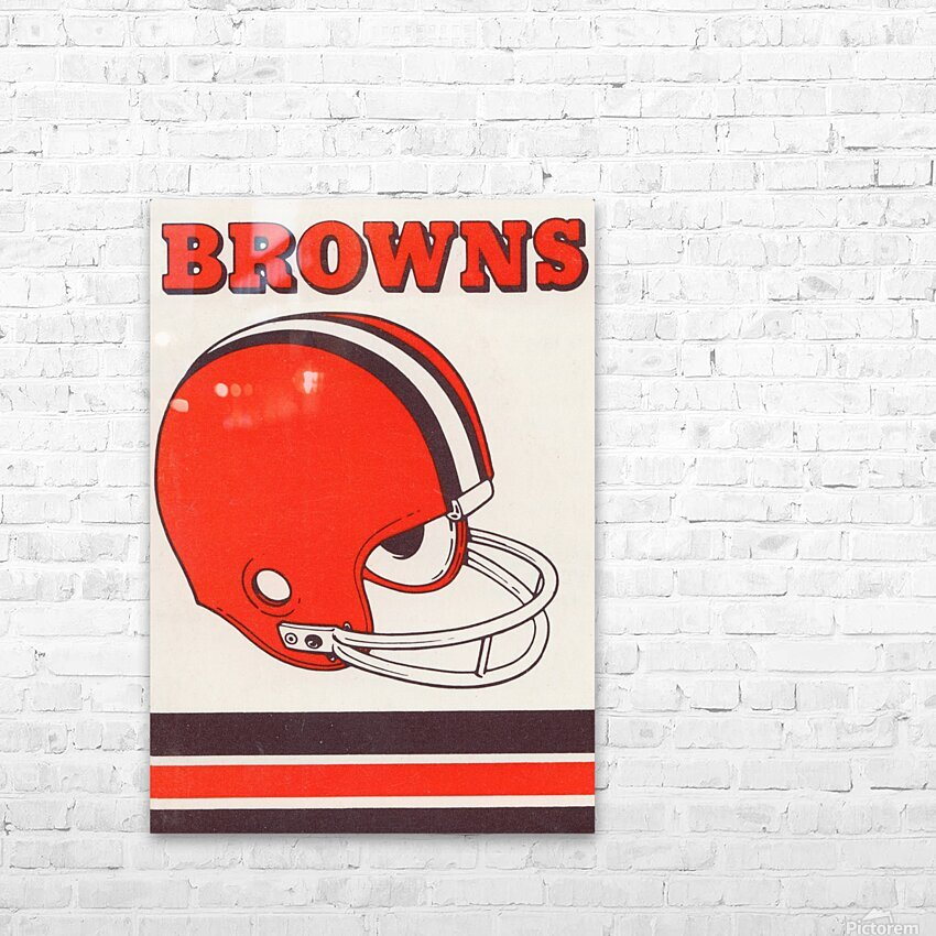 1975 Cleveland Browns Helmet Art HD Sublimation Metal print with Decorating Float Frame (BOX)