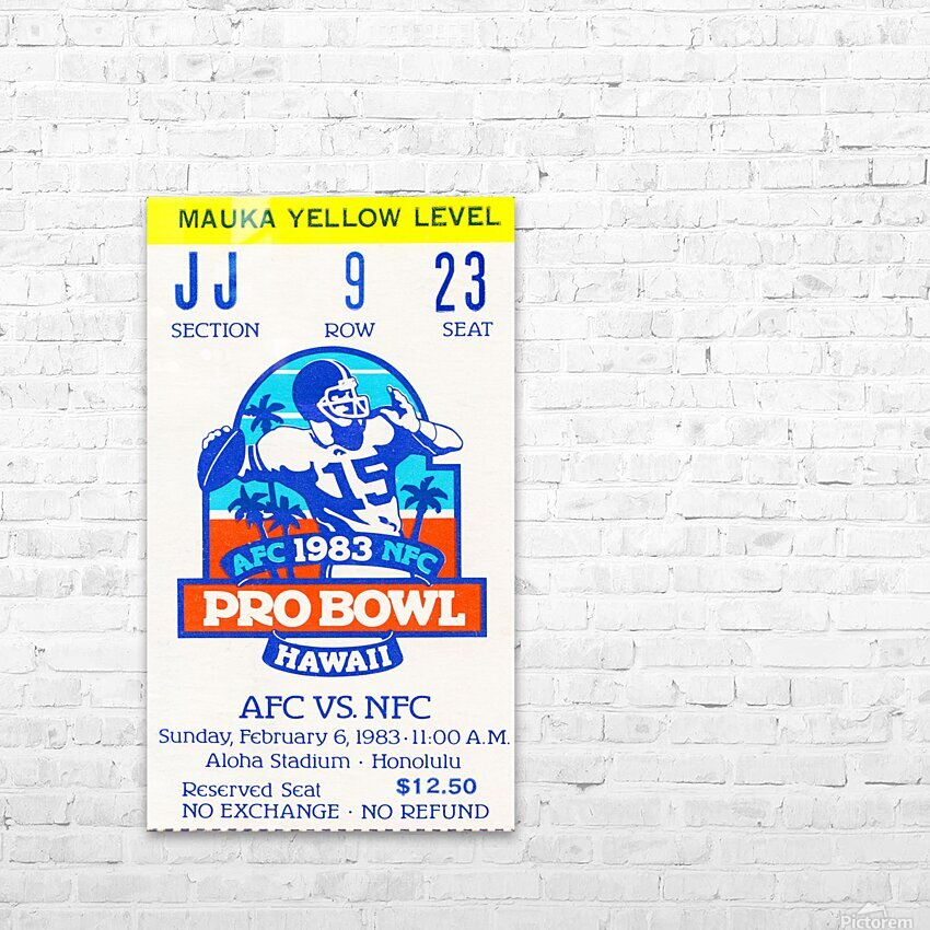 1983 Pro Bowl Ticket Stub Wall Art HD Sublimation Metal print with Decorating Float Frame (BOX)
