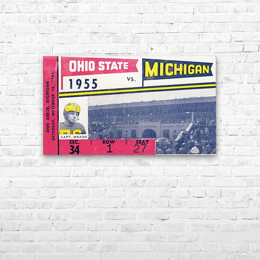 1955 Michigan vs. Ohio State Football Ticket Art HD Sublimation Metal print with Decorating Float Frame (BOX)