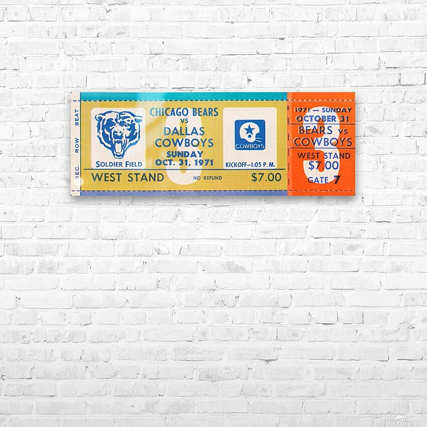 1971 Chicago Bears vs. Dallas Cowboys Ticket Art HD Sublimation Metal print with Decorating Float Frame (BOX)