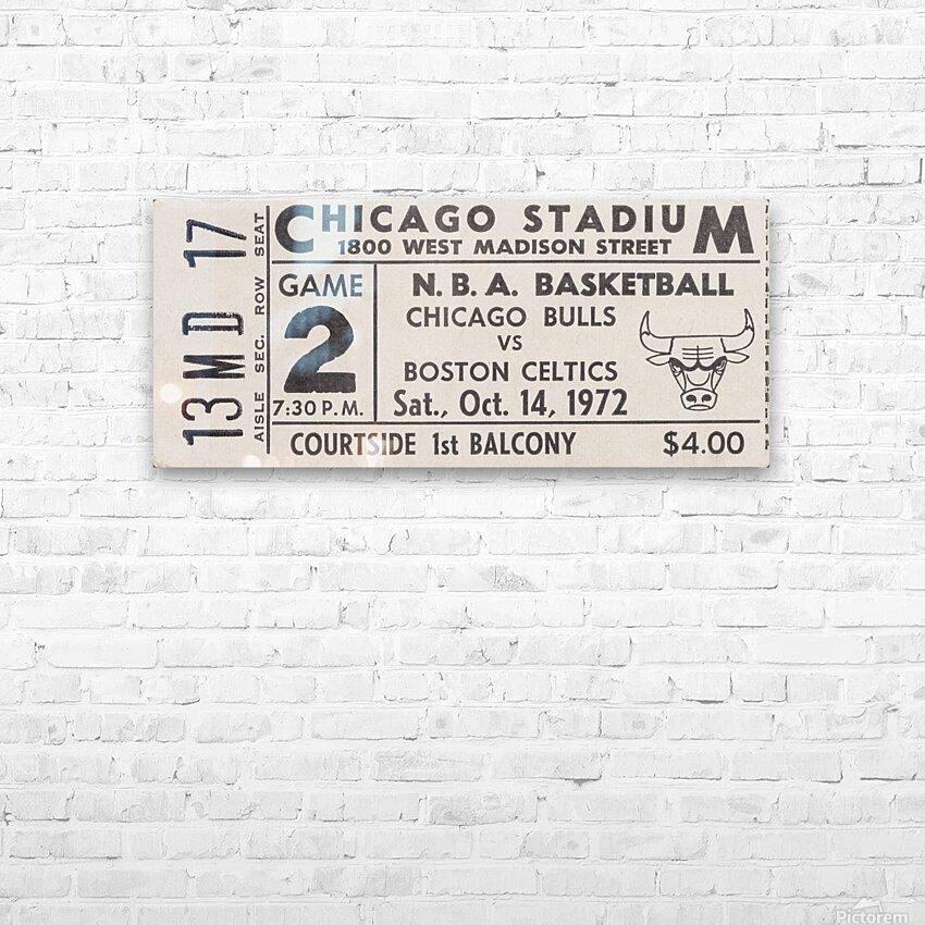 1972 Chicago Bulls vs. Boston Celtics Ticket Stub Art HD Sublimation Metal print with Decorating Float Frame (BOX)