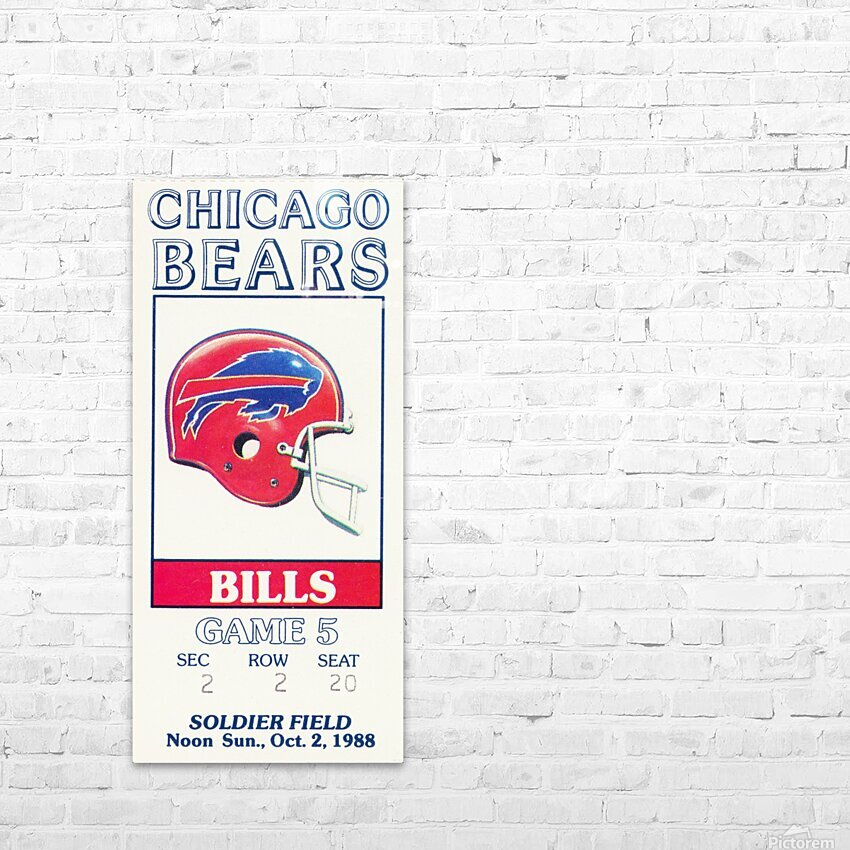 1988 Chicago Bears vs. Bills Football Ticket Art HD Sublimation Metal print with Decorating Float Frame (BOX)