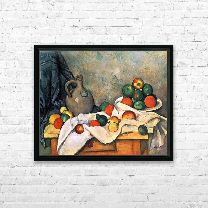 Still life, drapery, pitcher and fruit bowl by Cezanne HD Sublimation Metal print with Decorating Float Frame (BOX)
