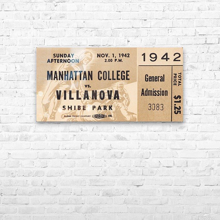 1942 Villanova vs. Manhattan Football Ticket Art HD Sublimation Metal print with Decorating Float Frame (BOX)