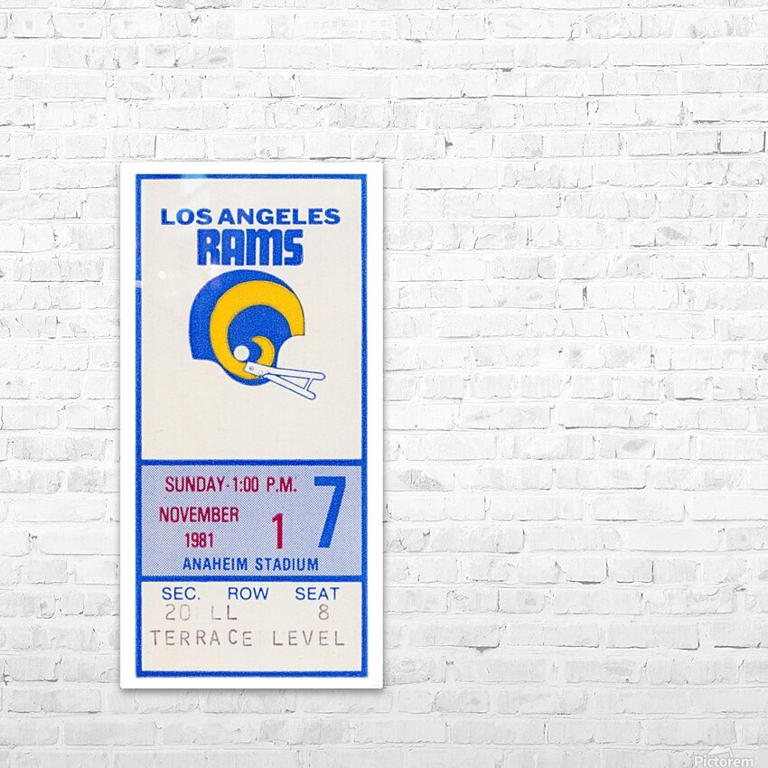 1981 Los Angeles Rams Ticket Stub Art HD Sublimation Metal print with Decorating Float Frame (BOX)