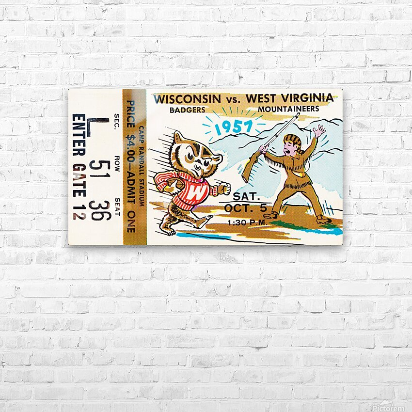1957 Wisconsin vs. West Virginia Ticket Stub Art HD Sublimation Metal print with Decorating Float Frame (BOX)