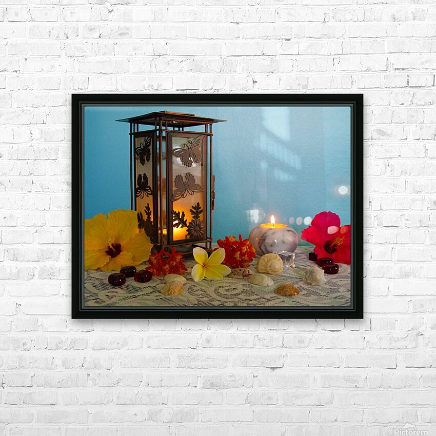 Candles and Flowers HD Sublimation Metal print with Decorating Float Frame (BOX)