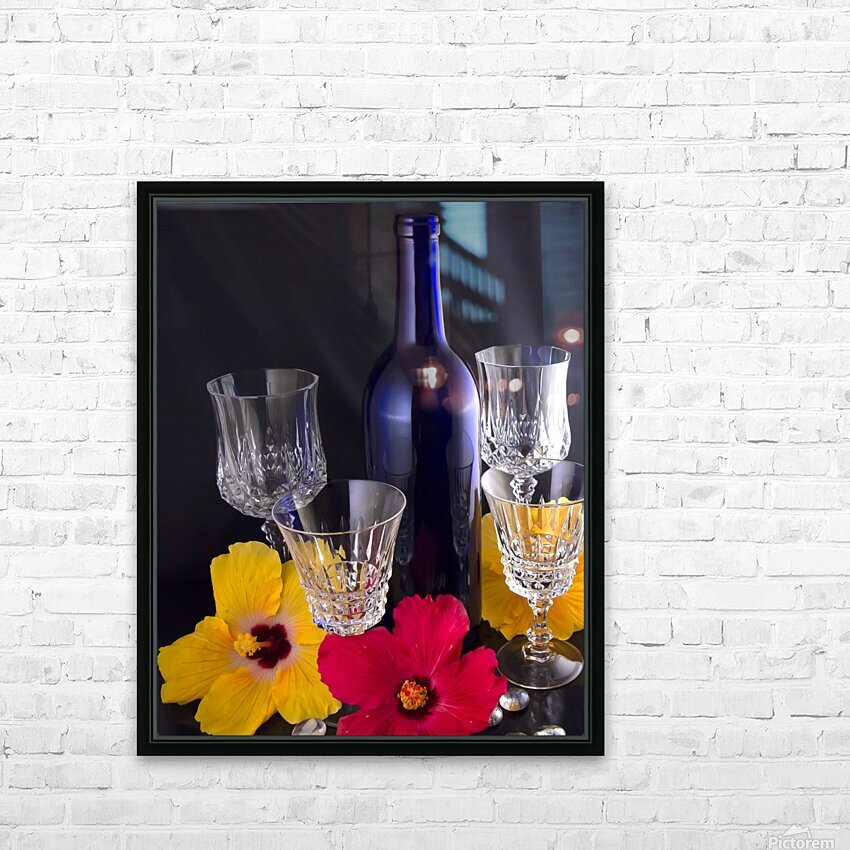 Blue Wine Bottle With Crystal and Tropical Flowers HD Sublimation Metal print with Decorating Float Frame (BOX)
