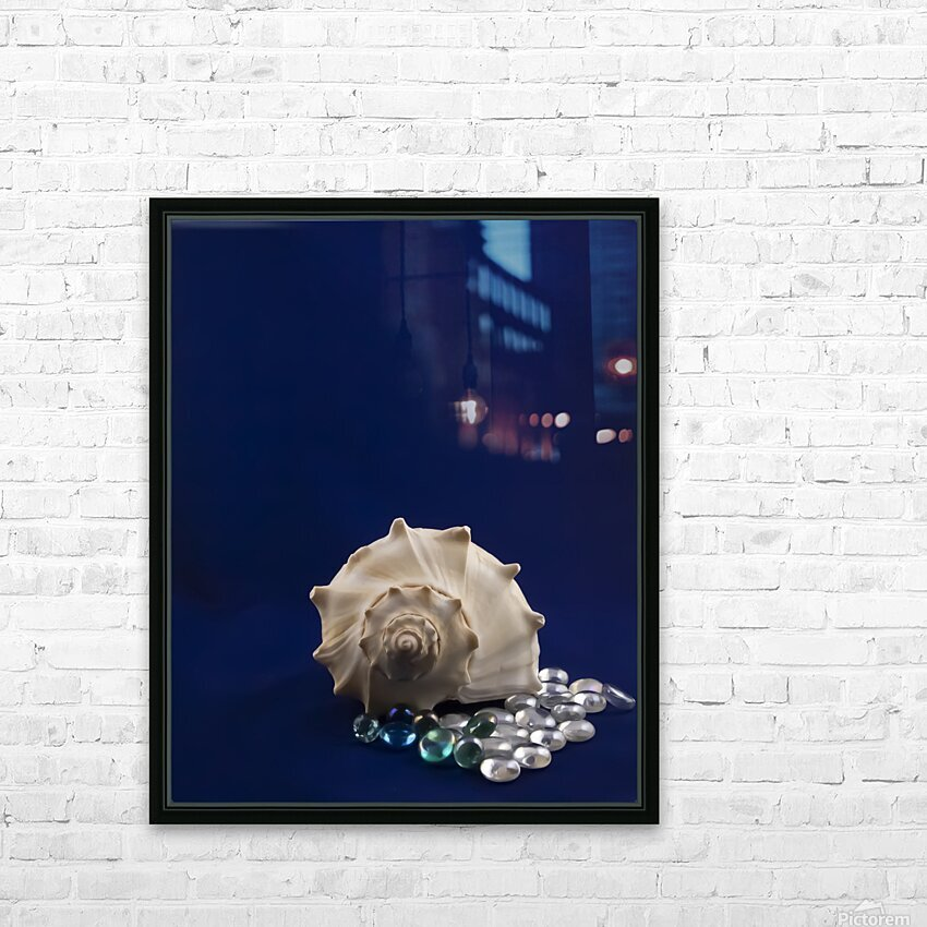 Spiral Conch Shell With Colored Glass HD Sublimation Metal print with Decorating Float Frame (BOX)