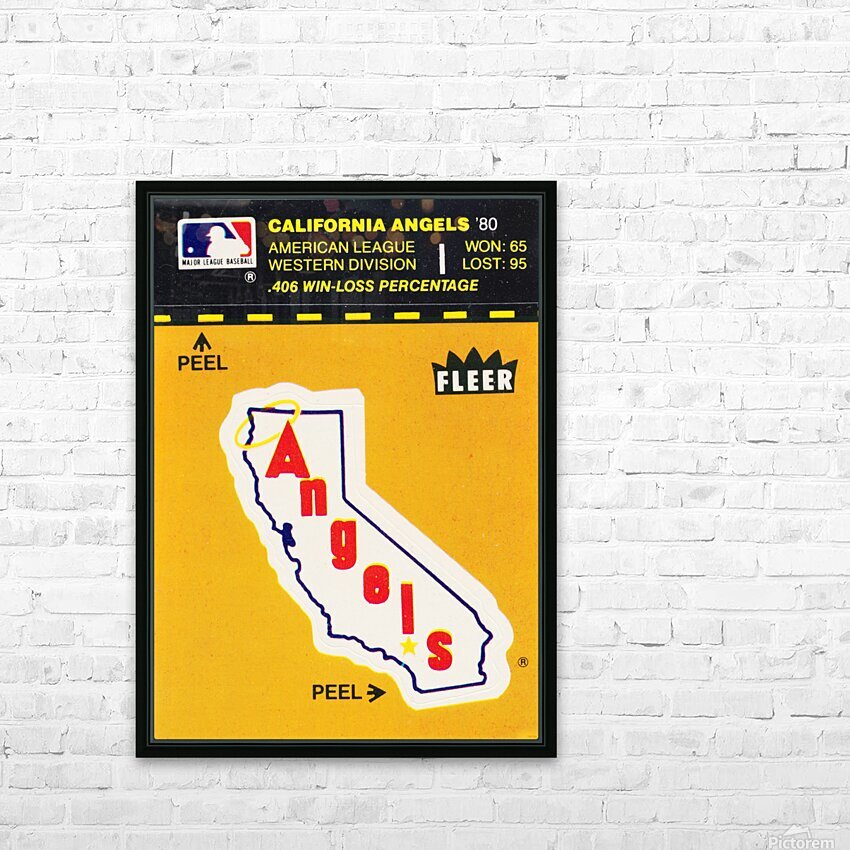1981 Fleer Decal Poster California Angels HD Sublimation Metal print with Decorating Float Frame (BOX)