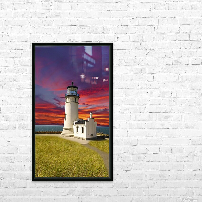 The LightHouse at Sunset HD Sublimation Metal print with Decorating Float Frame (BOX)