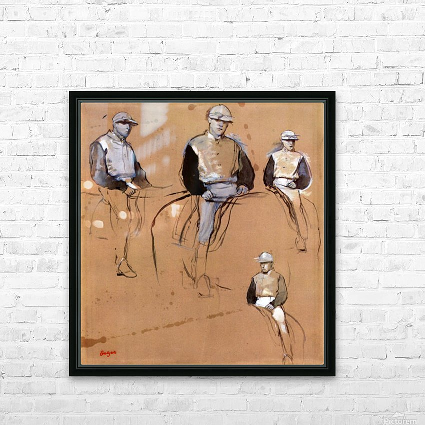 Study with four jockeys by Degas HD Sublimation Metal print with Decorating Float Frame (BOX)