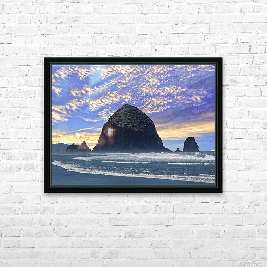 Haystack Rock at Cannon Beach HD Sublimation Metal print with Decorating Float Frame (BOX)
