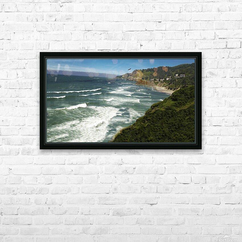 Eagles Flying Along the Coast HD Sublimation Metal print with Decorating Float Frame (BOX)