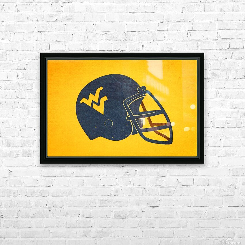 1985 West Virginia Mountaineers Football Helmet Art HD Sublimation Metal print with Decorating Float Frame (BOX)