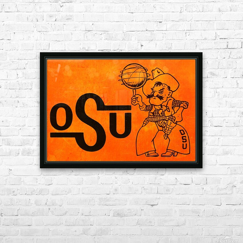 1985 Oklahoma State OSU Cowboys Pistol Pete Basketball Art HD Sublimation Metal print with Decorating Float Frame (BOX)
