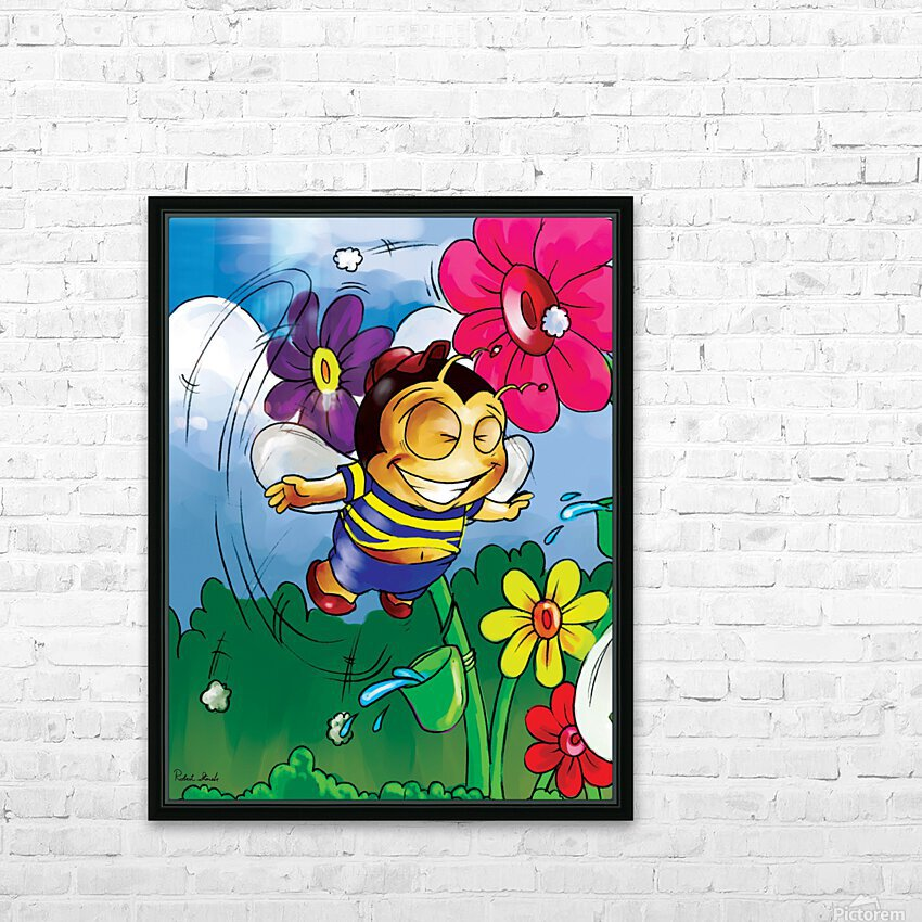 Happiness - Flower Power Buster Bee HD Sublimation Metal print with Decorating Float Frame (BOX)