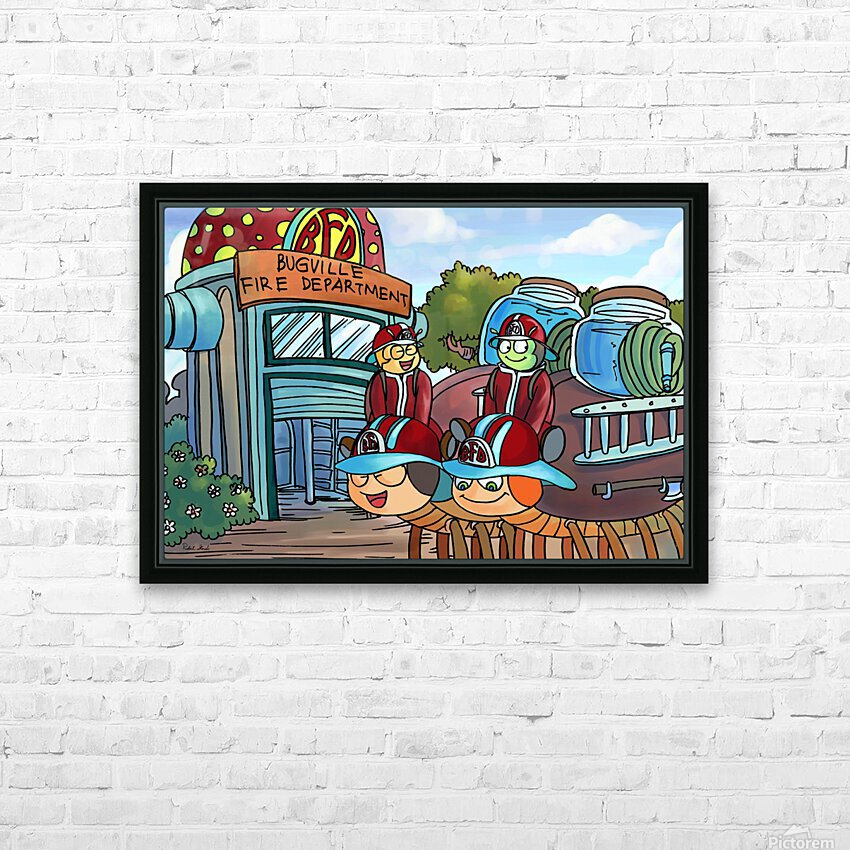 At the Fire Department - Places in Bugville Collection 2 of 4 HD Sublimation Metal print with Decorating Float Frame (BOX)