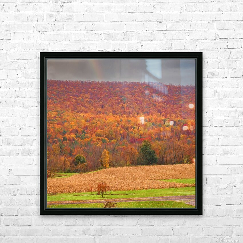 Painted Fall In The Mountains HD Sublimation Metal print with Decorating Float Frame (BOX)