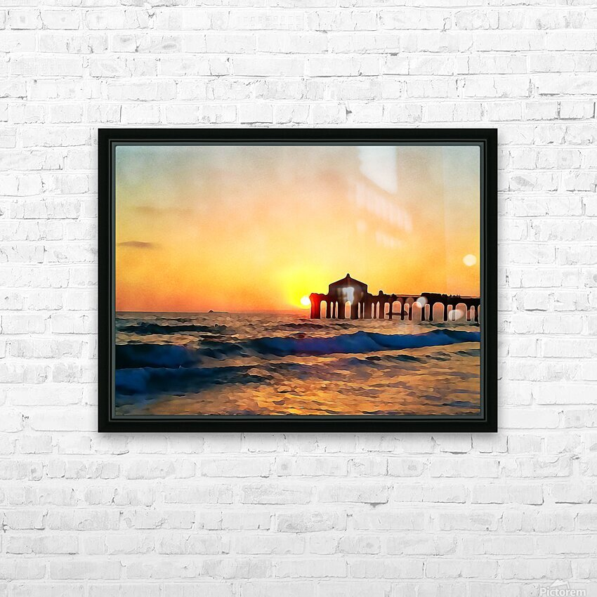 manhattan beach sunset wall art HD Sublimation Metal print with Decorating Float Frame (BOX)
