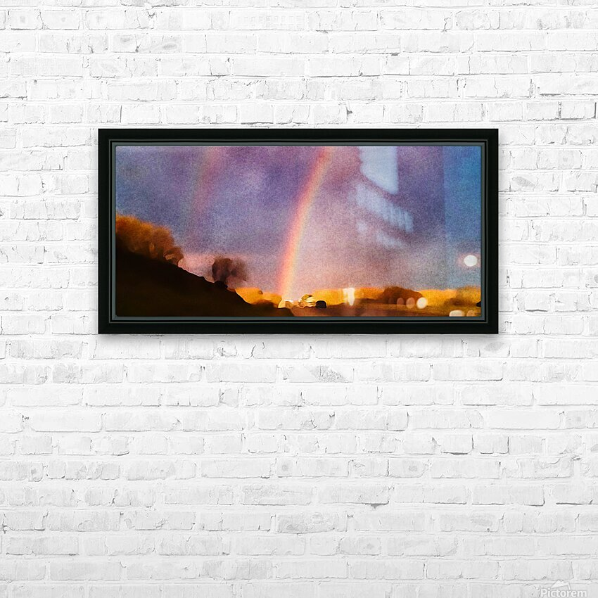 double rainbow HD Sublimation Metal print with Decorating Float Frame (BOX)
